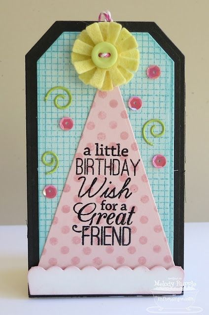 Birthday Greetings; Darling Dots; Journal It - Graph Paper Notes; Jumbo Party Hat Die-namics; Traditional Tags STAX Die-namics - Melody Rupple