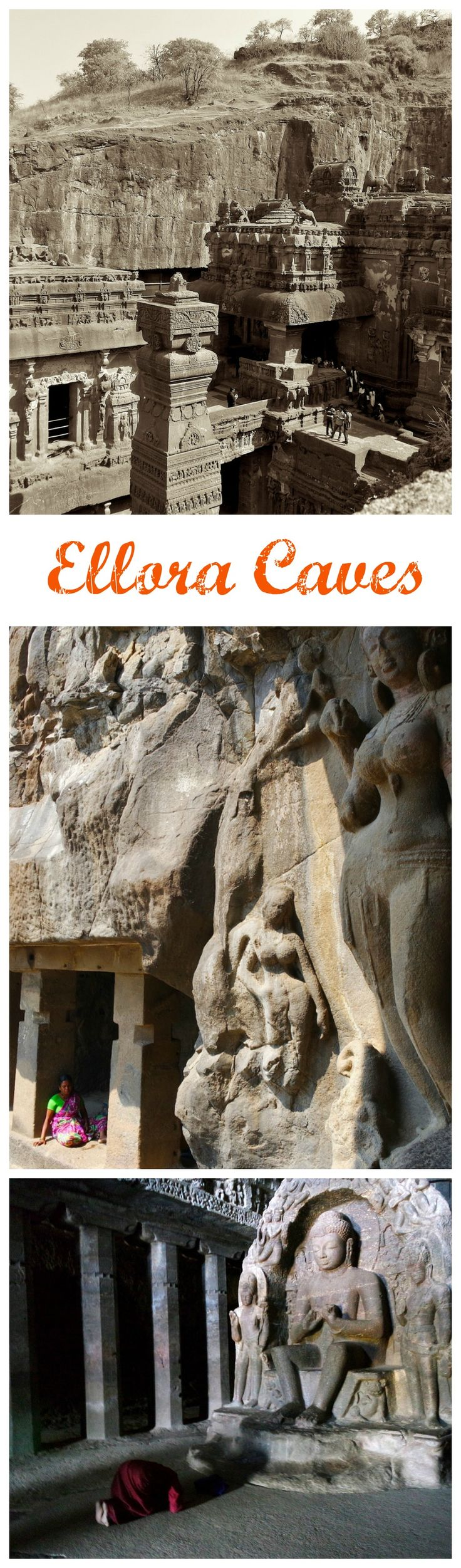 Hindu, Buddhist and Jain temples carved out of the hillside at Ellora Caves in India.