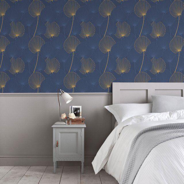 33++ Chambre papier peint bleu ideas