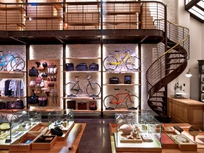 This is by far my favorite photo of the  staircase and catwalk we created for the Shinola Flagship in TriBeCa.  Shinola, New York | VMSD