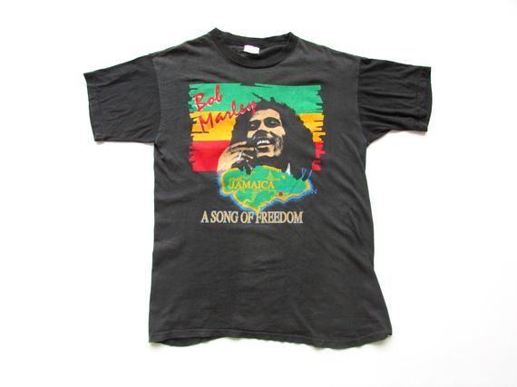 Size M L 90s Vintage Tabtex Bob Marley A Song Of Freedom Single Stitch Reggae Ska Rocksteady Band Merch T Shirt Bob Marley Reggae Band Merch