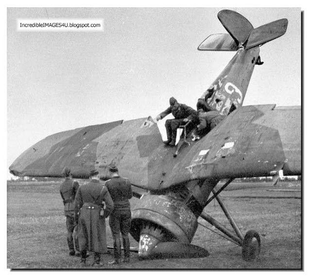 Germans examine a downed Polish air force plane. The Polish planes were no match to the German Stukas