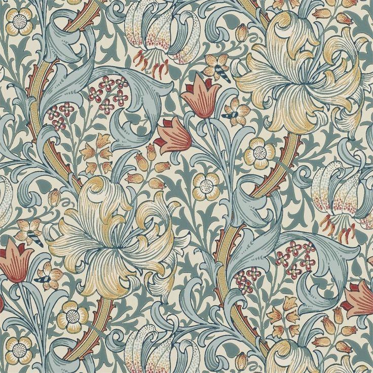 Tapet William Morris - Golden Lily. Engelska tapeter designade av John Henry Dearle år 1899. - Byggnadsvårdsbutiken AB