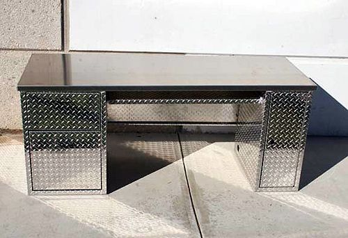 Diamond Plate Desk Garage Cabinets Pinterest Cas