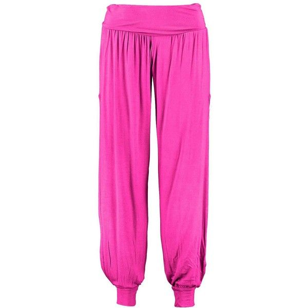 Laura Side Split Jersey Hareem Trousers ($3.04) ❤ liked on Polyvore featuring pants, men pants, pink pants, jersey knit pants, womens trousers and jersey pants