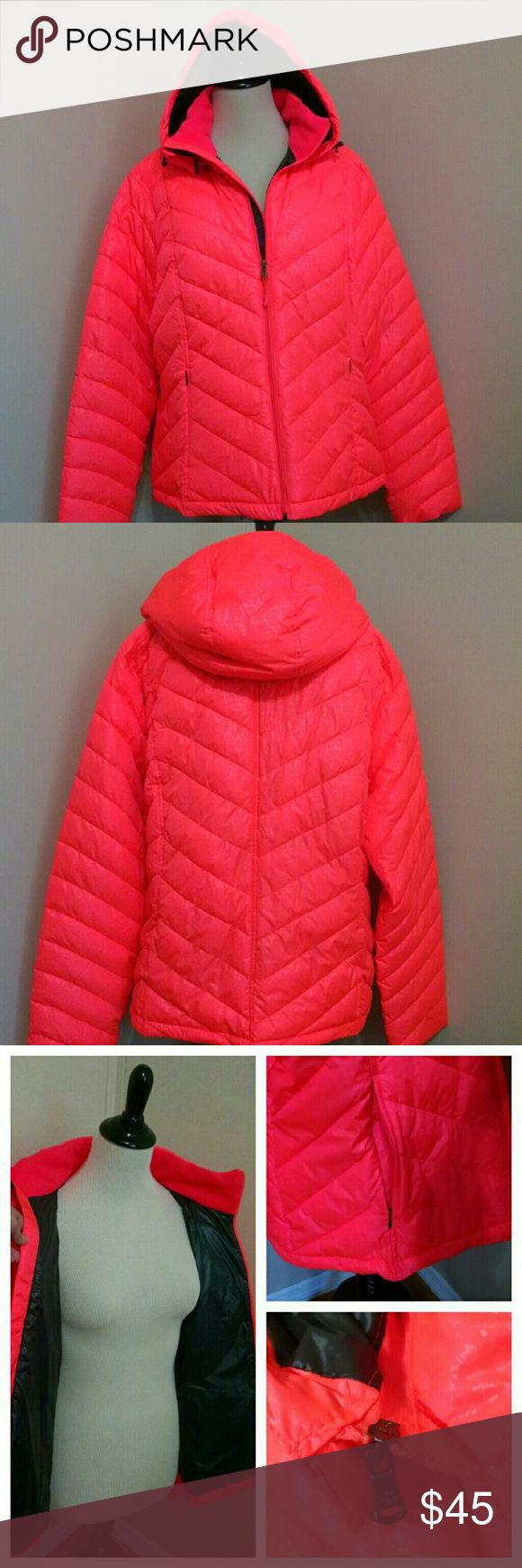NWOT Hot Coral Super Warm Puffer Jacket This jacket is AWESOME! I bought for a trip up north (I live in S FL) and never went so it's totally wasted in my closet here. This jacket has a removable hood, fleece lined pockets and neckline and is super lightweight and warm!!! Best part is the notice me shade of hot coral! Size XXL and fits me comfortably and I wear a 14/16 in LB or size 1 in Torrid. Make an offer to brighten your dreary winter day with this awesome jacket! tek gear Jackets…