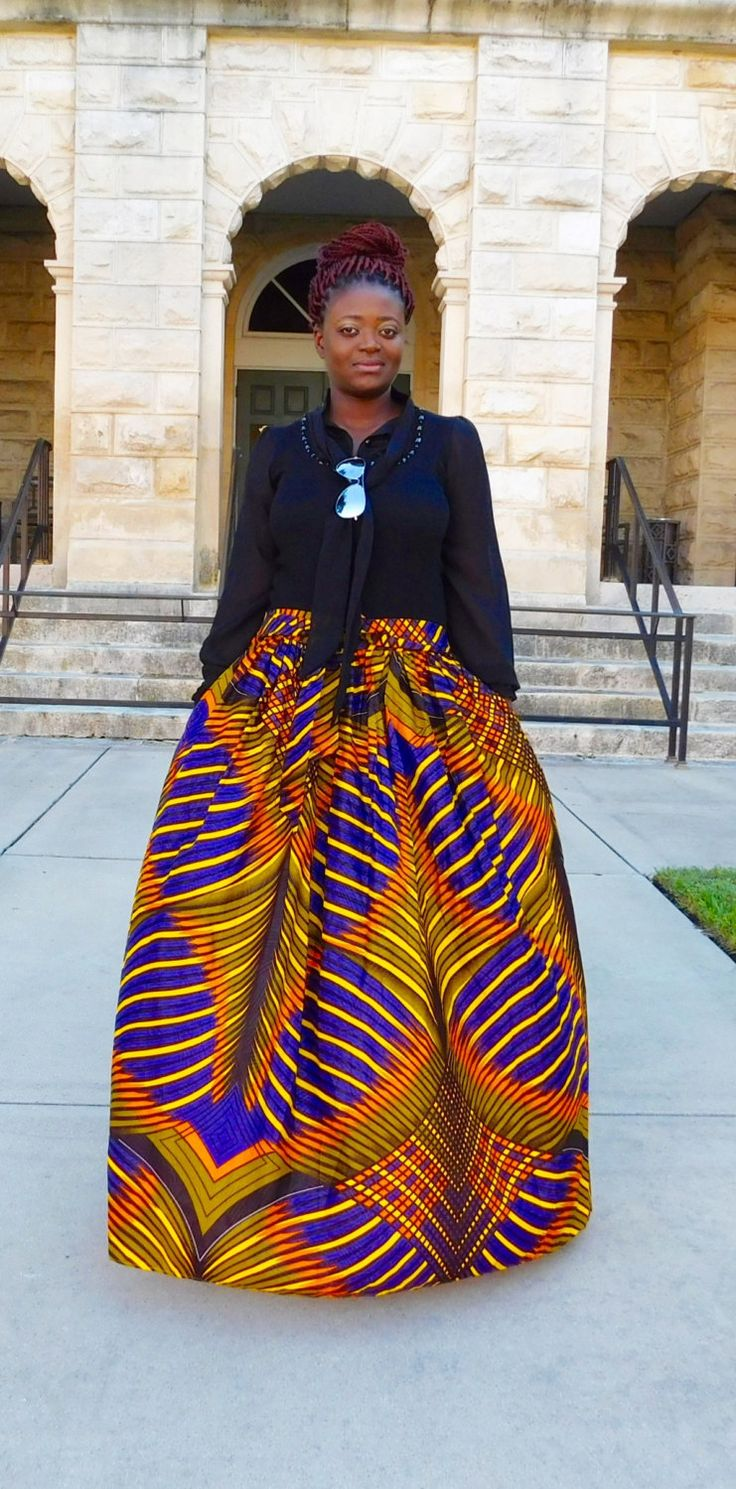 Purple Orange Maxi Skirt; African Clothing; African fashion; African Print; African Skirt; African Clothing; - pinned by pin4etsy.com