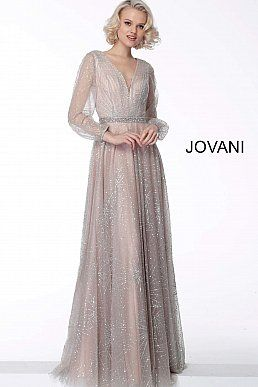 cc0ae8249df Nude Long Sleeve V Neck Evening Dress 65658 in 2019