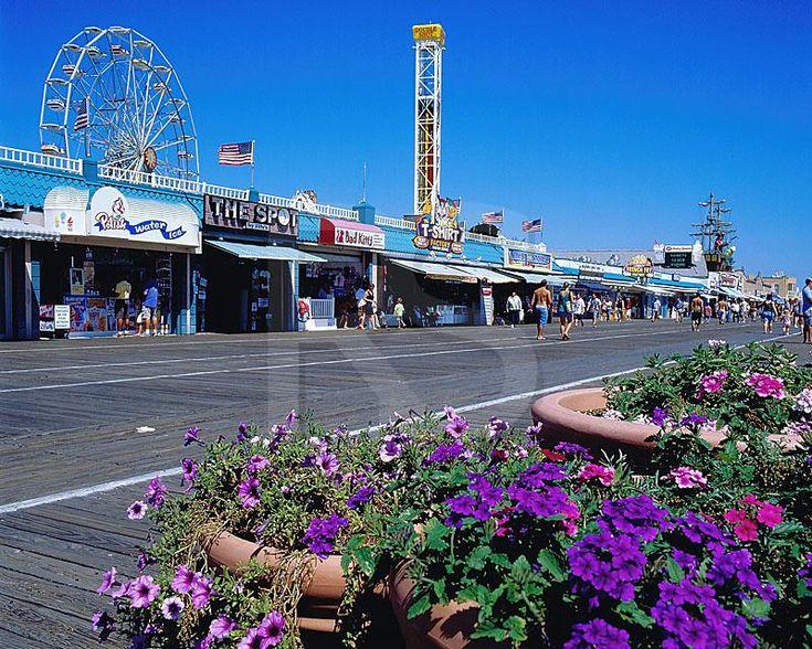 ocean city nj | Ocean City Boardwalk And Flower Pots,
