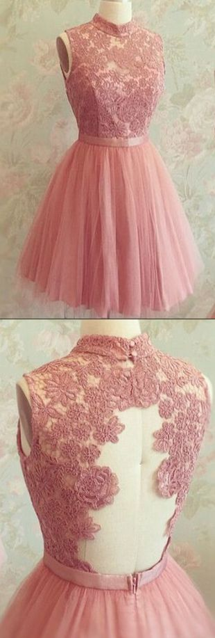 Pink Homecoming Dresses, Short Homecoming Dresses, High Neckline Pink Lace Open Back Short Tulle Homecoming Dresses