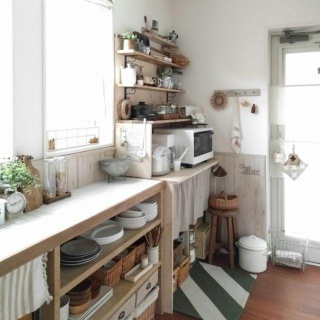 kokkomachaさんの、ディスプレイ収納,2016/02/01,DIY板壁,見せる収納,収納,DIY食器棚,古いもの,室内グリーン,目指せカフェ風キッチン,ブログやってます(*Ü*),朝の1枚,いただきものいっぱいです(