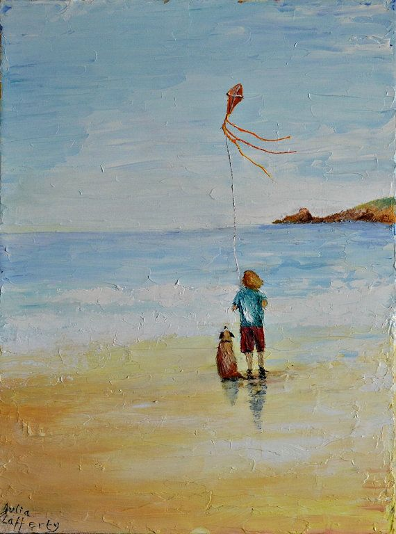 A child & dog kite flying at the beach oil by SURFANDBOATS on Etsy