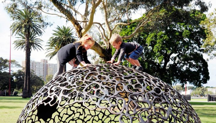 At Redfern Park in Sydney Australia Fiona Foley designed the playhouses and bouncers inspired by seed pods. Her components are proof that playground 'equipment' can be beautiful.