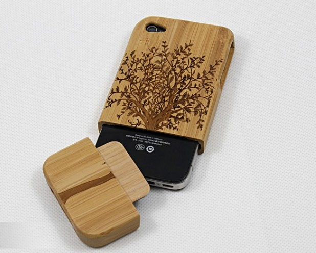 iphone 4 case, iphone 4s case, real wood bamboo made big tree style iphone 4 4s case covers. $19.90, via Etsy.