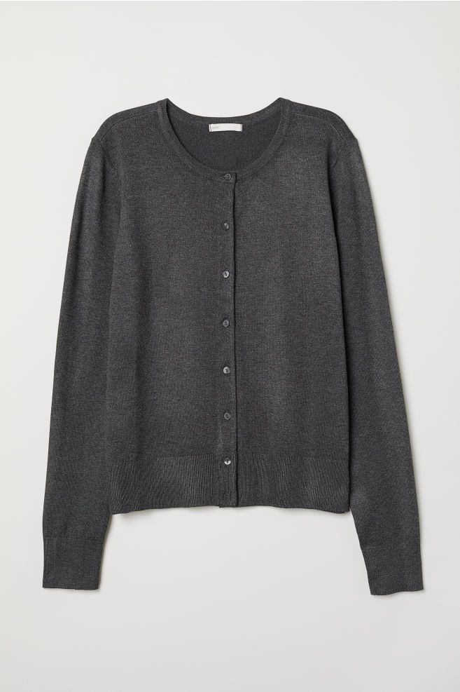 450fafcc0c Fine-knit Cardigan - Dark gray melange - Ladies