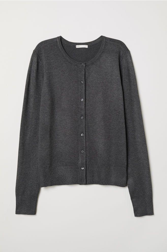 450fafcc0c Fine-knit Cardigan - Dark gray melange - Ladies