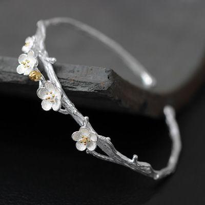 s925 sterling bạc vòng đeo tay nữ mở sáng tạo handmade bạc mận (mận vòng đeo tay) hoa Jewelry Nghệ thuật