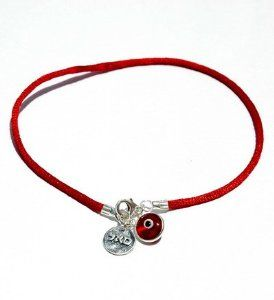 """Red String Kabbalah Anklet for Abundance & Success MIZZE Made for Luck Jewelry. $39.00. Handmade in Israel. Abundance, prosperity and success Kabbalah charm (Letters SAL) in 925 Sterling Silver. A red silk string ankle bracelet size 9.5"""". Red Evil Eye protection charm from glass."""