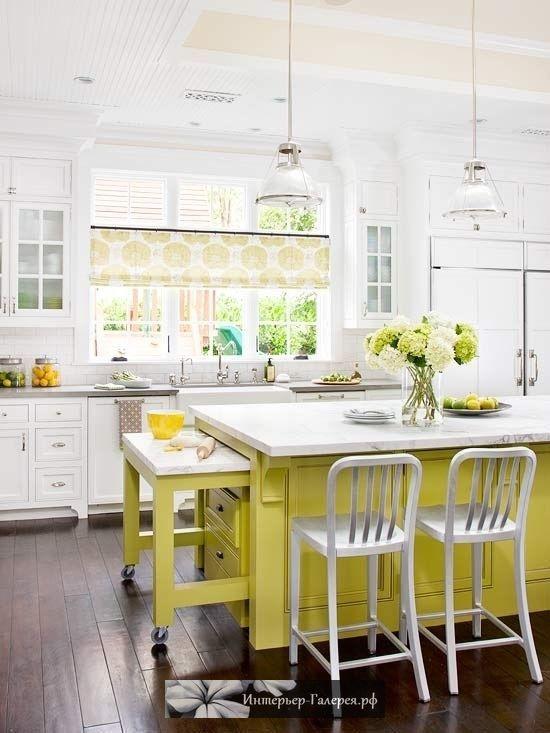 Салатовый цвет в интерьере кухни, желтый цвет в интерьере кухни, светло-зеленый цвет в интерьере кухни