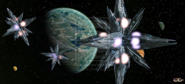 Space bases around the planet Artemis_3 by cosovin.deviantart.com on @DeviantArt