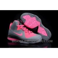 New Nike Lebron 9 Kids Shoes Grey/Pink