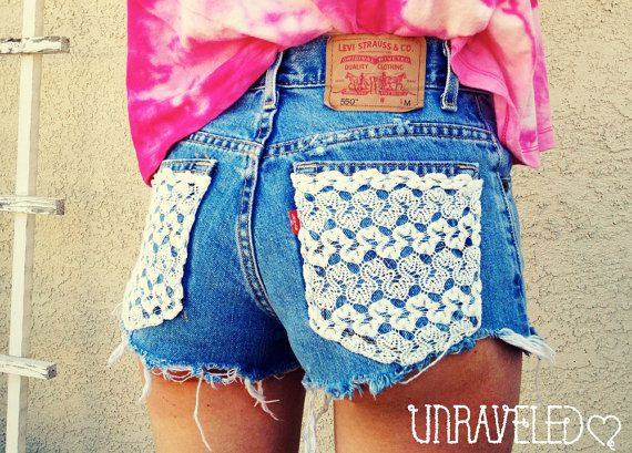 High Waisted Shorts Levis Lace by UnraveledClothing