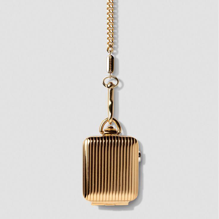 Gold Pinstripe Pocket Watch
