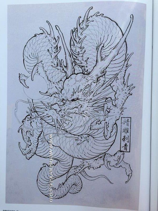 酷炫的龙纹身手稿线稿