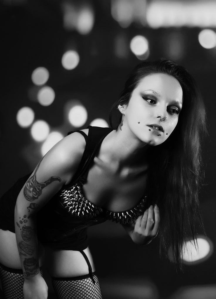 Dark, piercing, tattoo, black and white, b & w, Make up, studs, bra, stay ups, stockings, corset, fishnet, bones