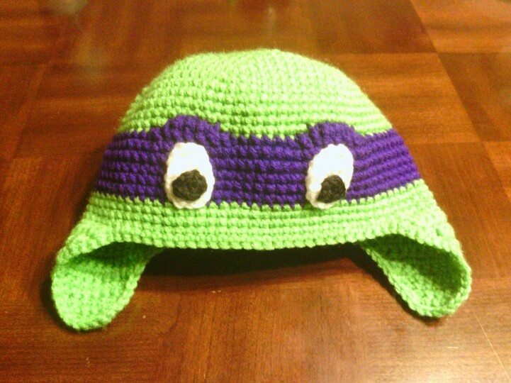 Crochet Pattern For A Turtle Hat : For a true Ninja Turtle fan! Crochet TMNT earflap hat! No ...
