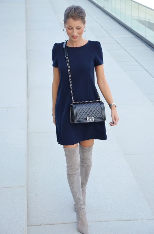 Outfit Herbst :: Graue Overknees & Chanel Boy Bag