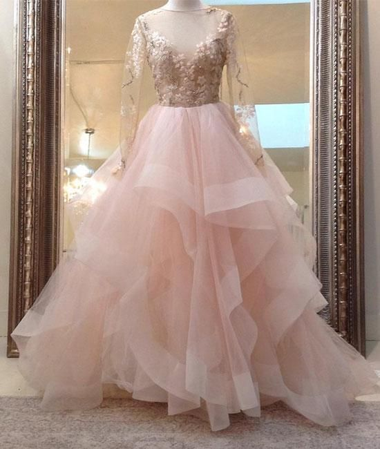 bea22eef362 beauty blush pink long sleeves ball gown backless long tulle fluffy prom  dress