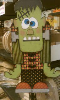 Halloween craft: wood Frankenstein