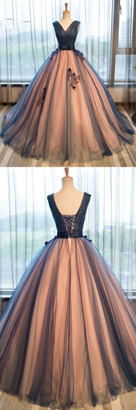 Prom Dresses, Brown Sleeveless Evening Dresses, Long Evening Dresses, Pretty Tulle V-neck Applique A-line Long Evening Dresses ,ball Gown Prom Dress – Uschi Gerstbauer
