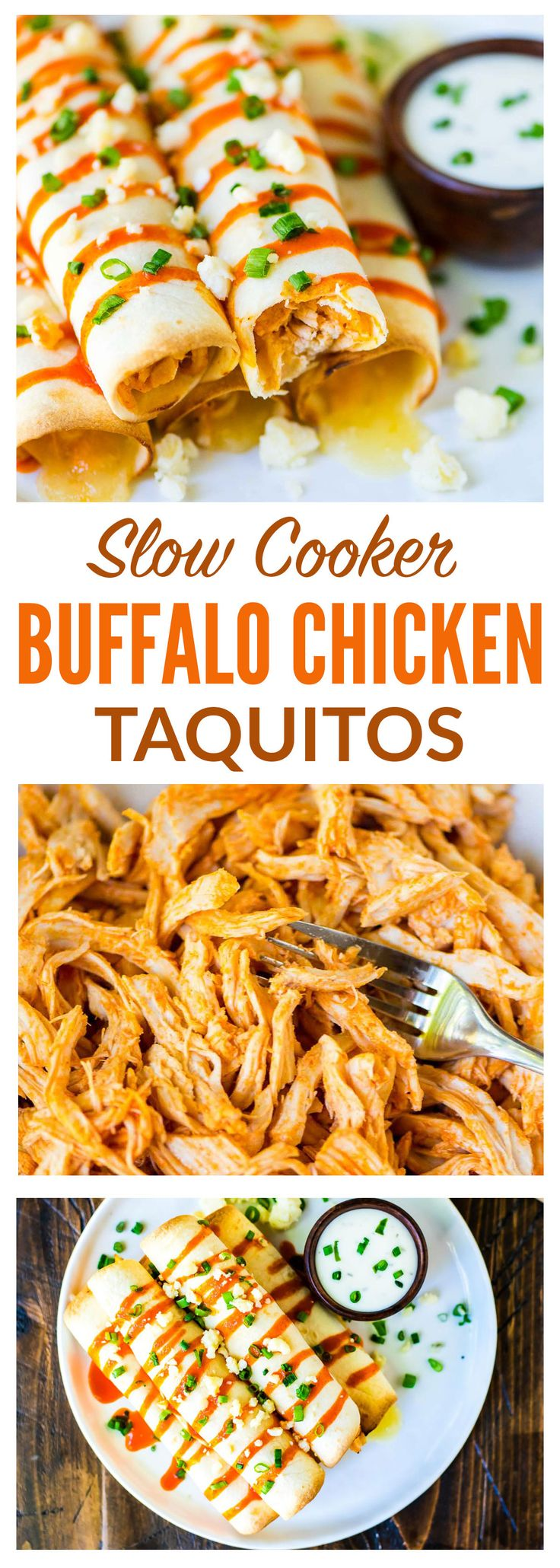 Baked Buffalo Chicken Taquitos. Slow cooker Buffalo chicken filling, baked inside a crispy tortilla. Perfect for a game day appetizer or for an easy dinner! Recipe at wellplated.com | @wellplated