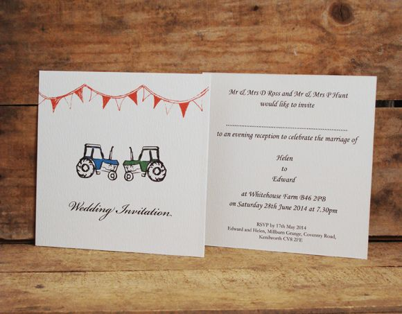 Tractors, Square Style, Single Card Wedding Invitations. One For The  Farmers! Www