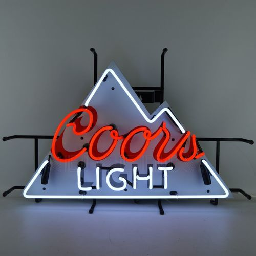 Coors Light Beer Neon Sign is very bright! Neon Signs feature multi-colored, hand blown neon tubing. The glass tubes are supported by a black finished metal grid, which can be hung against a wall or w