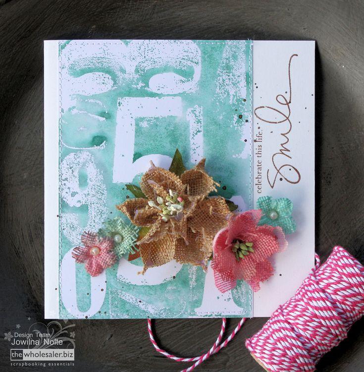 Colour Your Burlap Flowers - Smile Card