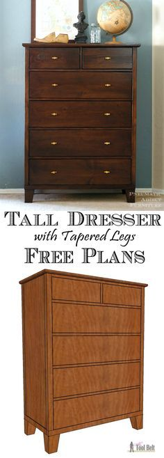 Build a gorgeous tall dresser with tapered legs for your bedroom, free woodworking plans.