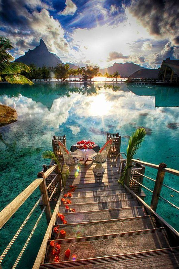 Bora Bora, Tahiti. One of my biggest dreams is to visit Bora Bora because it is so admiringly beautiful. It has one of the most clearest waters in the world. I would love to swim in the water and adore the peace and serenity.