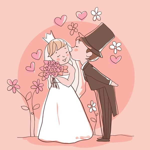 Cartoon wedding illustration - vector material