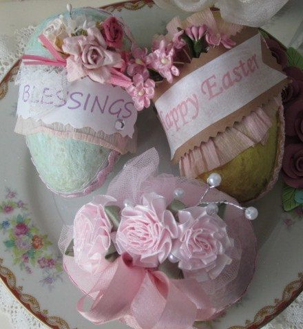 Shabby Cottage Set of 3 Paper Mache Easter by RoseChicFriends, $21.99