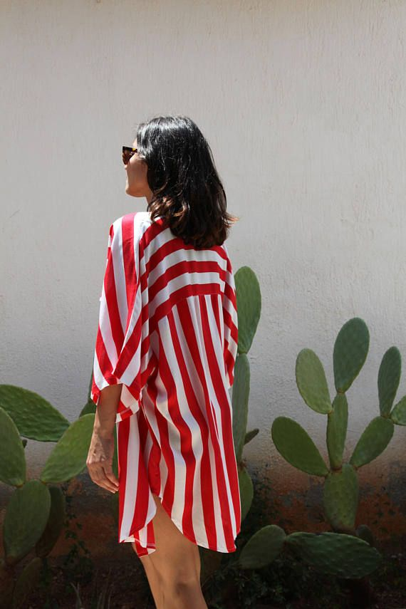Red white striped shortsleeve button down long shirt.over size