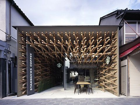 this is a Starbucks cafe. It's in Tokyo's Fukuoka Perfecture and was designed by the remarkable Japanese architect Kengo Kuma, who refers to the 'fusion of traditional and contemporary'.