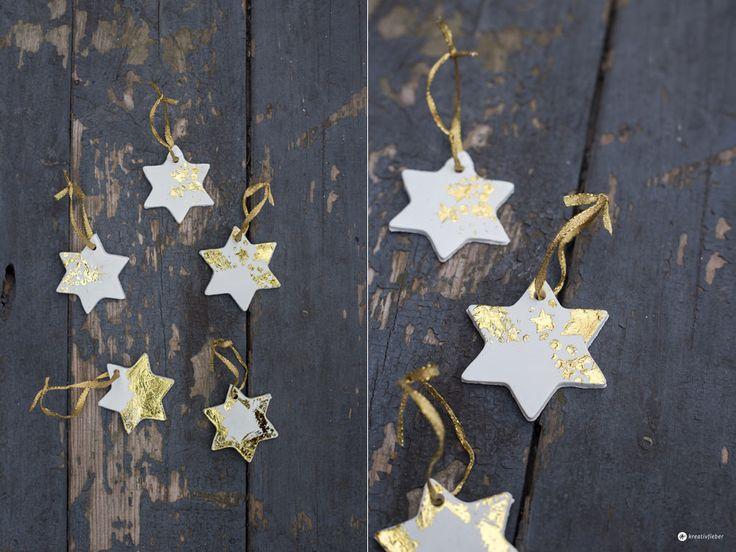 DIY Sternenanhänger mit Gold - Weihnachtsbaumanhänger mit Zauberfolie - DIY Weihnachtsbaumdeko