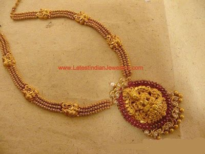 Adorable Temple Jewellery Design with Lakshmi Pendant Studded with Rubies and Polki Diamonds | Latest Indian Jewellery Designs