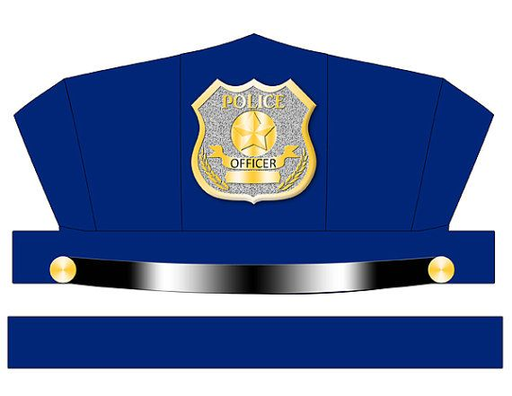 Printable Blue Police Hat Instant Digital Download by Printatoy