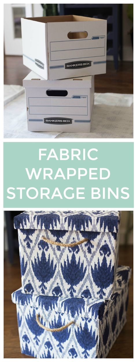 How to Cover Bankers Boxes with Fabric - easy way to dress up plain boxes - via Making Home Base