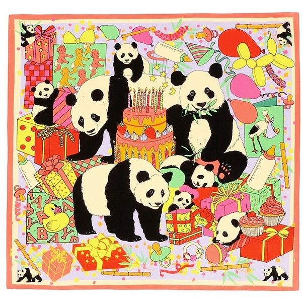 Karen Mabon 'Panda Baby Shower' print silk scarf (200 PAB) ❤ liked on Polyvore featuring accessories and scarves