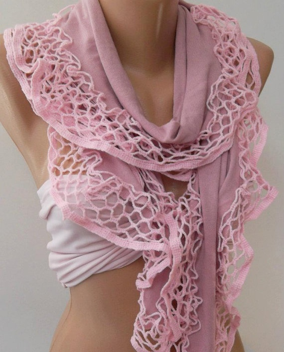 Pink  Elegance Shawl / Scarf with Lace Edge by womann on Etsy, $19.90